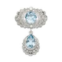 24. aquamarine and diamond brooch/pendant, circa 1910