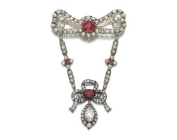 33. spinel and diamond brooch, late 19th century and later, composite