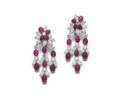 342. pair of ruby and diamond ear clips