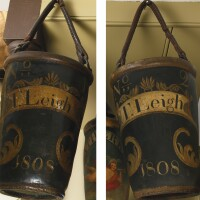 35. pair of painted leather ceremonial fire buckets, new england, circa 1808