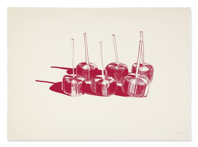 Red print of candy suckers by Wayne Thiebaud
