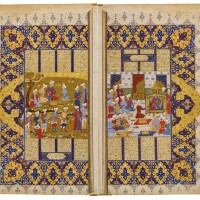 10. an illustrated and illuminated double page from a manuscript of firdausi's shahnameh: the beginning ofluhrasp's reign, persia, safavid, shiraz, 16th century