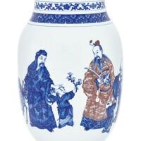 15. 清十九世紀 青花釉裏紅折桂圖瓶 |
