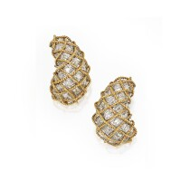 21. pair of 18 karat two-color gold and diamond earclips