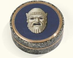 3. agold-mounted micromosaic andgranite snuff box, italy, circa 1810-1820