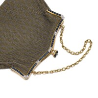 20. gold, sapphire and diamond evening bag, early 20th century