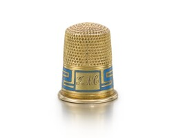 340. a fabergé gold and champlevé enamel thimble, workmaster feodor afanasiev, st. petersburg, circa 1895 |