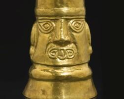 8. large sicán gold head beaker ca. a.d. 900-1100