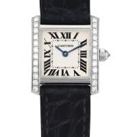 2038. 卡地亞 | 「tank」白金鑲鑽石腕錶,錶殼編號mg262156,年份約2010。