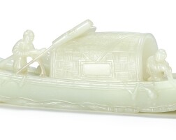 3634. a finely carved celadon jade boat qing dynasty, qianlong period