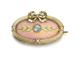 328. a fabergé jewelled gold and enamel brooch, workmaster alfred thielemann, st petersburg, 1908-1917