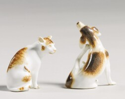 212. two meissen miniature figures of a hound and a cat circa 1745
