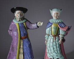 321. an extremely rare and important pair of large chinese export figures of a jewish man and lady, qing dynasty, qianlong period, 1735-45 |