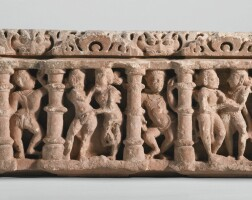 1308. a pinksandstone pediment central india, 10th / 11th century