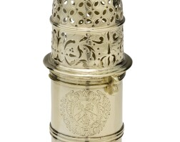 330. a queen anne silver-gilt caster, christopher canner, london, 1704 |