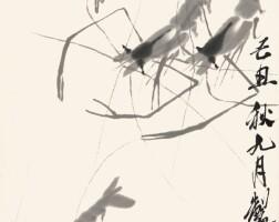 2743. 齊白石 墨蝦 | 水墨紙本 立軸 一九四九年作