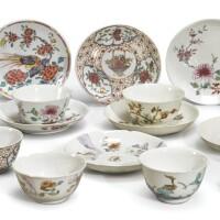 1067. 清十八世紀 粉彩盃及小盤一組  