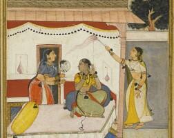 208. an illustrated page from a ragamala series, bilaval ragini of raga hindol, popular mughal, early 17th century