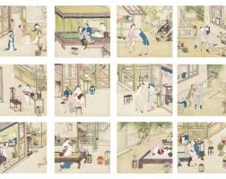 34. album de douze peintures érotiques dynastie qing, xixe siècle  