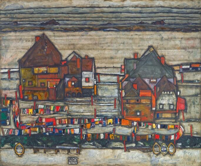 Egon Schiele, Häuser mit bunter Wäsche (Vorstadt II)