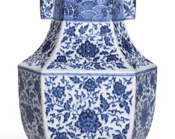 6. a blue and white hexagonal vase, hu qianlong seal mark and period |
