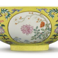 805. a yellow-ground famille-rose 'medallion' bowl daoguang seal mark and period