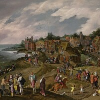 9. gillis mostaerthulst circa 1528/9 - 1598 antwerpandjacob grimmerantwerp 1525 - 1590 | landscape, possibly a view of hoboken, with a kermesse on the shore of an estuary