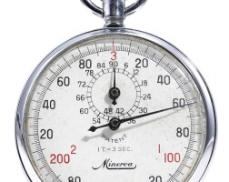 8. minerva   a stainless steel stopwatch with registercase 438275 1/100 seconds circa 1970