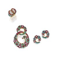 411. group of gold, diamond, ruby and turquoise jewelry, the brooch by john rubel