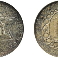 7. three-cent piece, silver, 1855, ngc ms 65 cac