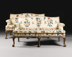 326. a pair of george ii walnut and upholsteredsofas circa 1740