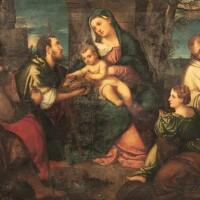 10. studio of bonifazio de' pitati called bonifazio veroneseverona 1487 - 1553 venice | the adoration of the shepherds with saint catherine and saint bruno