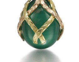 311. a gold-mounted hardstone egg pendant, st petersburg, 1904-1908