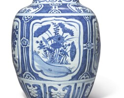 1006. a large chinese blue and white 'kraak' jar, ming dynasty, wanli period |