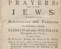 47. the book of religion, ceremonies, and prayers; of the jews…, gamaliel ben pedahzur [abraham mears],london: printed for j. wilcox, 1738.