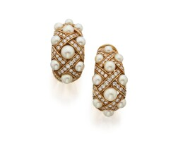 6. pair of cultured pearl and diamond earclips, chanel, france