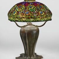"205. tiffany studios | ""peacock"" table lamp"