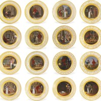 17. twenty-four berlin (k.p.m.) porcelain plates painted with scenes from goethe's faust, circa 1821