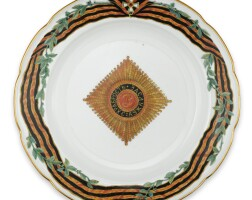 10. a russian porcelain dinner plate from the service for the imperial order of st. george, imperial porcelain manufactory, st. petersburg, period of nicholas ii (1894-1917), dated 1896