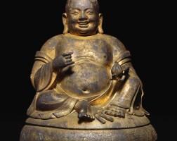 315. 明十六世紀 銅鎏金彌勒佛坐像  
