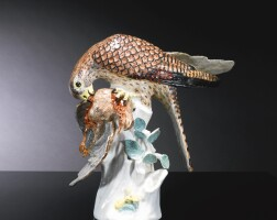 5. a meissen figure of a sparrowhawk with its prey circa 1739