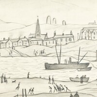 17. laurence stephen lowry, r.a.   figures beside a harbour