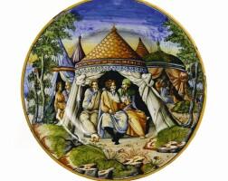 46. a good renaissance maiolica istoriata plate, so-called tondino, mid 16th century