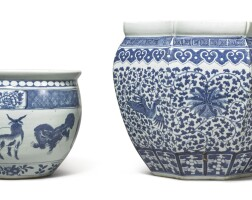 1011. two chinese blue and white jardinieres, qing dynasty, 19th century |