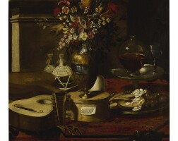 17. attributed to pier francesco cittadini | still life of a vase of flowers, musical instruments, two flasks, a dish with sweets and other objects on a table
