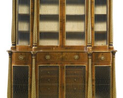 44. a george iii parcel-gilt rosewood bookcase cabinet, circa 1800