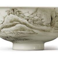 514. a grisaille-painted 'landscape' bowl yongzheng mark and period