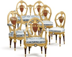 22. a jasperware-mounted giltwood, mahogany and tulipwood salon suite, probably russian, late 19th century |