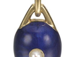 448. a gold and enamel egg pendant/locket, french