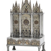 32. a rare silver, gold and enamel musical necessaire formed as an upright piano, the movement vacheron constantin, geneva, second quarter 19th century